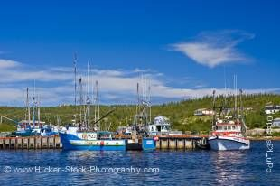 Stock photo of Mary's Harbour wharf with fishing boats, Highway 510, Labrador Coastal Drive, seen from the Battle Harbour Ferry, St Lewis Inlet, Viking Trail, Trails to the Vikings, Southern Labrador, Labrador, Canada.