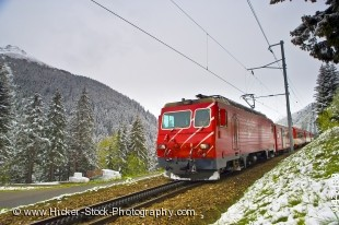 Stock photo of the Matterhorn Gotthard Bahn Train between Andermatt and Sedrun in Switzerland