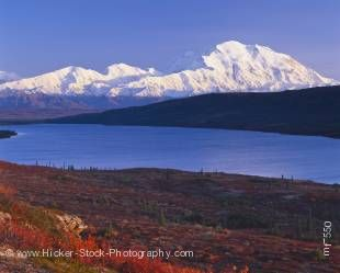 Stock photo of Mount McKinley and Wonder Lake in Denali National Park, Alaska in autumn.