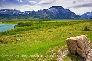 Stock photo of the scenery from a pullout along Highway 5 beside Middle Waterton Lake in the Waterton Lakes National Park, Southern Alberta, Alberta, Canada.