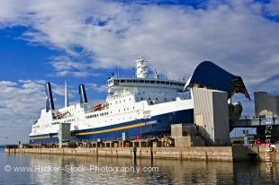 Stock photo of the M/V Caribou Ferry (to Port aux Basques) at the Marine Atlantic Ferry Terminal in North Sydney, Nova Scotia, Atlantic Canada, Canada.