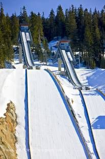 Stock photo of the 2010 Olympic Ski Jumps at the Whistler Olympic Park Nordic Sports Venue, Callaghan Valley, British Columbia, Canada.