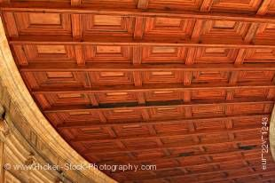 Stock photo of the wooden ceiling of the circular courtyard and double gallery of the Palace of Charles V (Palacio de Carlos V), The Alhambra (La Alhambra) - designated a UNESCO World Heritage Site, City of Granada, Province of Granada, Andalusia (Andaluc
