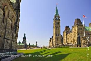 Stock photo of the Centre Block and the Peace Tower of the Parliament Buildings in Ottawa, Ontario, Canada.