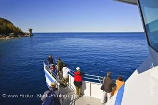 Stock photo of passengers aboard the Great Blue Heron tour boat from Tobermory in the Fathom Five National Marine Park, Lake Huron, Ontario, Canada.