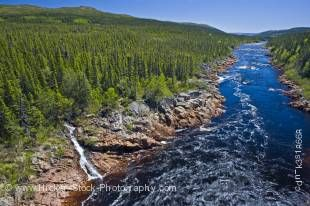Stock photo of the Pinware River gorge and rapids seen from along the Labrador Coastal Drive, Highway 510, Viking Trail, Trails to the Vikings, Southern Labrador, Labrador, Atlantic Canada, Canada.