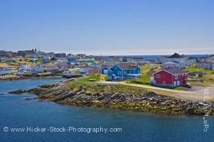 Stock photo of Port aux Basques as seen from the Marine Atlantic ferry the M/V Caribou as it arrives in Newfoundland, Canada.