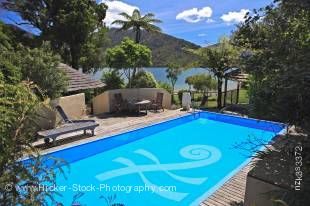 Stock photo of a refreshing swimming pool at Punga Cove Resort in Endeavour Inlet, Queen Charlotte Sound, Marlborough, South Island, New Zealand.