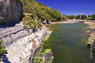 Stock photo of a small estuary at Puponga near the DoC Information Centre at Farewell Spit, Tasman District, South Island, New Zealand.