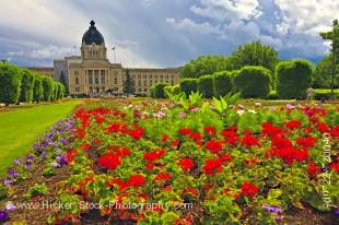 Stock photo of Queen Elizabeth II gardens at the Legislative Building, City of Regina.