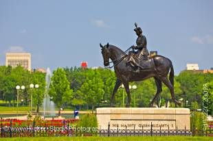 Stock photo of the Equestrian statue of Queen Elizabeth II in the Queen Elizabeth II Gardens, City of Regina, Saskatchewan, Canada.