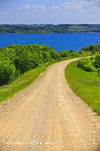 Stock photo of road leading to Pelican Pointe on the shores of Last Mountain Lake, Qu'Appelle Valley, Saskatchewan, Canada.