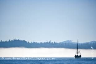 Stock photo of a small sailboat coming out of a fog bank with clear blue sky near Port Hardy.