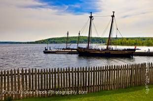 Stock photo of the HMS Tecumseth and HMS Bee (in the background) in Penetanguishene Bay at Discovery Harbour, Midland, Ontario, Canada.