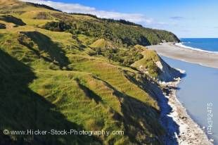Stock photo of the shoreline around the Hurunui River Mouth near Cheviot, East Coast, South Island, New Zealand.