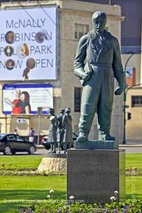 Stock photo of the statue of Sir William S. Stephenson (1897-1989) in Memorial Park, City of Winnipeg, Manitoba, Canada.
