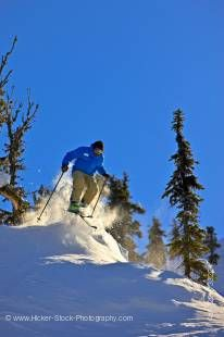 Stock photo of a skier on the upper slopes of Whistler Mountain, Whistler Blackcomb, Whistler, British Columbia, Canada. A beautiful blue sky and a few evergreen trees provide the background for this skier riding the powdery snow near the top of Whistler