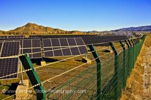 Stock photo of Heliostats (solar panels) in a field near the town of Tabernas, Costa de Almeria, Province of Almeria, Andalusia (Andalucia), Spain, Europe.