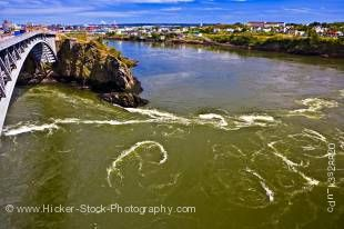 Stock photo of the Reversing Falls along the Saint John River in Saint John, Bay of Fundy, Fundy Coastal Drive, Highway 1, New Brunswick, Canada.