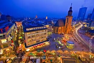 Stock photo of the beautiful St. Katherine's Church, Katharinenkirche, and the night life of downtown Frankfurt at dusk, Hessen, Germany, Europe.