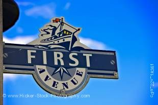 Stock photo of a decorative street sign of FIRST AVENUE in the town of Gimli on the shores of Lake Winnipeg, Manitoba, Canada.