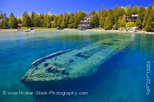 Stock photo of the shipwreck of the schooner, the Sweepstakes (built in 1867) in Big Tub Harbour, Fathom Five National Marine Park, Lake Huron, Ontario, Canada.