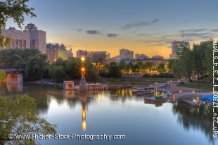 Stock photo of The Assiniboine River Marina and the Market and Tower at The Forks, a National Historic Site in the City of Winnipeg, Manitoba, Canada.