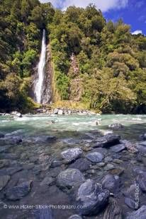 Stock photo of Thunder Creek Falls in Mt Aspiring National Park, West Coast, South Island, New Zealand.