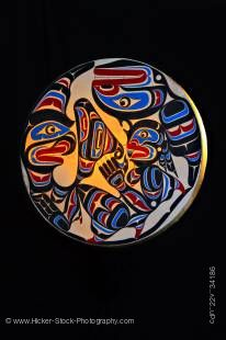 Stock photo of a Native Art Drum by Trevor Hunt featuring Wildman (Pugwis) and the Killer Whale.