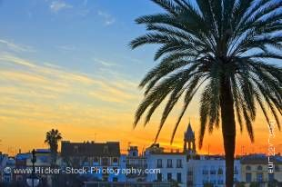 Stock photo of the Triana District at sunset in the City of Sevilla, Province of Sevilla, Andalusia, Spain, Europe.