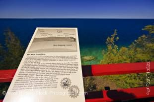 Stock photo of an interpretive sign at the Light station viewing deck on Flowerpot Island in the Fathom Five National Marine Park, Lake Huron, Ontario, Canada.