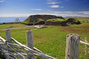 Stock photo of the reconstructed long house at L'Anse aux Meadows National Historic Site of Canada and UNESCO World Heritage Site, Northern Peninsula, Great Northern Peninsula, Viking Trail, Trails to the Vikings, Newfoundland, Newfoundland Labrador, Cana
