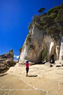 Stock photo of Arch Point, Abel Tasman National Park, Tasman District, South Island, New Zealand.