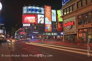 Stock photo of Yonge Street at night in downtown Toronto, Ontario, Canada