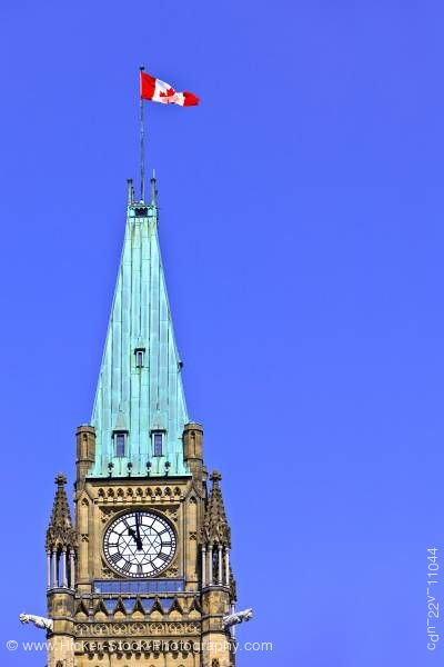 Stock photo of Detail Peace Tower Clock Blue Sky Centre Block Parliament Hill Ottawa Ontario