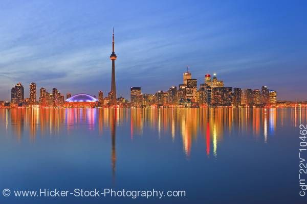 Stock photo of Toronto City Reflections at Dusk Skyline Centre Island Ontario Canada