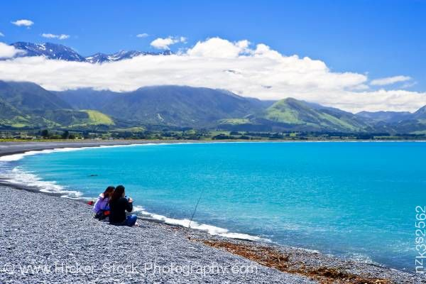 Stock photo of People Kaikoura Beach Kaikoura East Coast South Island New Zealand