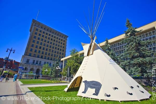 Stock photo of Aboriginal tee pee city hall Winnipeg Manitoba Canada