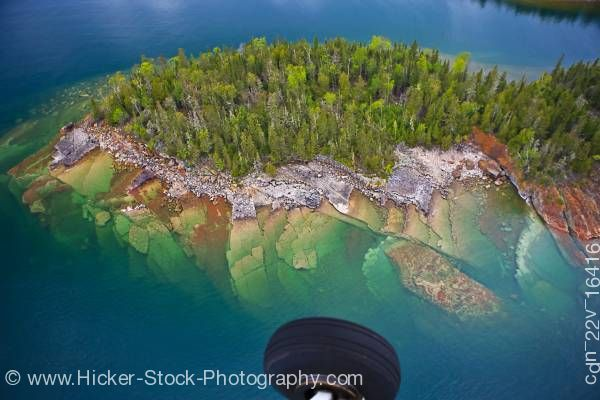 Stock photo of Aerial View abstract Small Rocky Island on Lake Superior taken on flight from Thunder Bay Ontario Ca