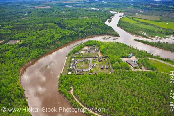 Stock photo of Aerial Fort William Historical Park Kaministiquia River Thunder Bay Ontario Canada