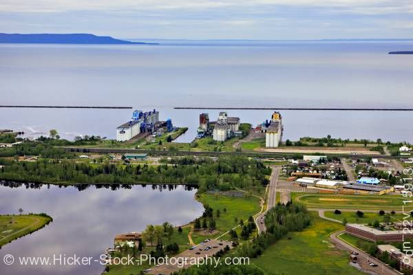 Stock photo of Aerial Boulevard Lake Current River Greenway Grain Elevators Waterfront Lake Superior City of Thunde