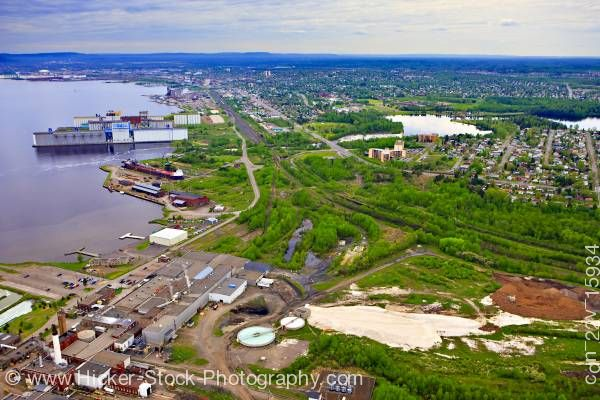 Stock photo of Aerial View Industrial Landscape Lake Superior Shoreline City of Thunder Bay Ontario Canada