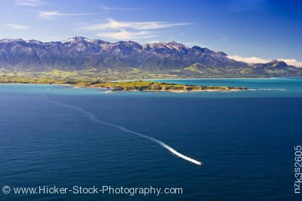 Stock photo of Aerial View Kaikoura Peninsula Whale Watching Boat Kaikoura