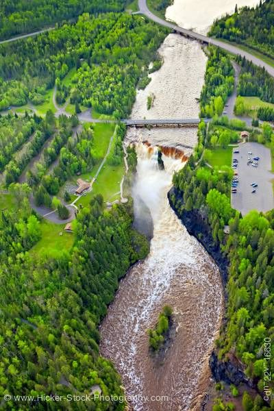 Stock photo of Aerial View Kaministiquia River Kakabeka Falls at the Kakabeka Falls Provincial Park Ontario