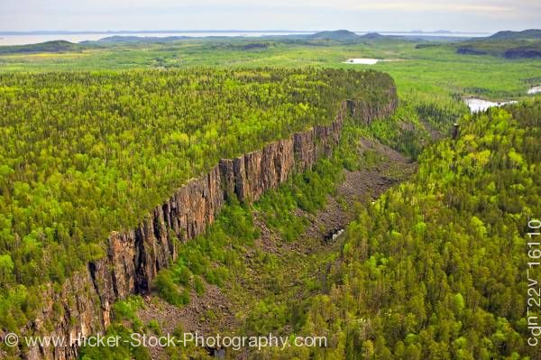 Stock photo of Aerial photo Canyon at Ouimet Canyon Provincial Park Ontario, Canada.