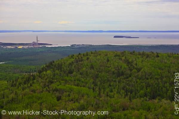 Stock photo of Aerial View of the Landscape near the City of Thunder Bay shore of Lake Superior Ontario Canada