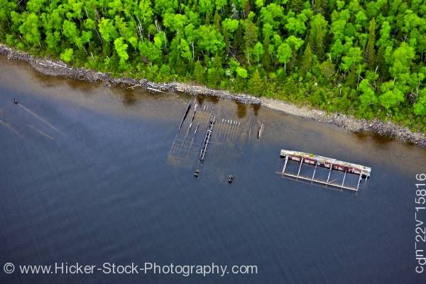 Stock photo of Aerial View of Shipwrecks along the coastline of Lake Superior near Thunder Bay Ontario Canada