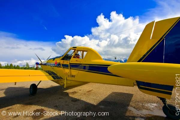 Stock photo of Air Tractor AT 802 Bush Plane Aircraft Red Lake Ontario Canada Blue Sky
