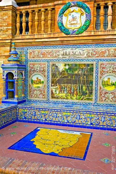 Stock photo of Alcove ceramic tile Huesca at Plaza de Espana Parque Maria Luisa City of Sevilla Province of Sevilla