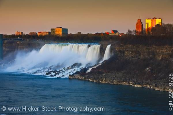 Stock photo of American Niagara Falls at sunset